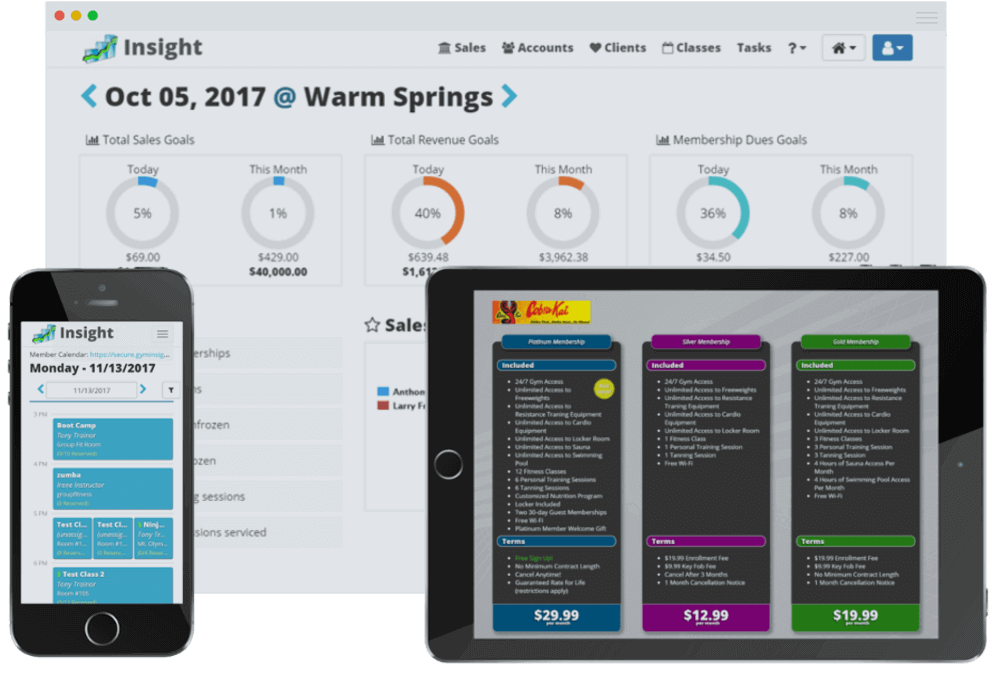 Screenshots and device mockups for Insight gym management software